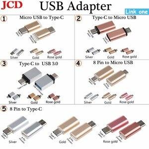 Адаптер JCD с Micro Usb «папа» на Type-c, адаптер с Type-C/ 8 Pin на Micro usb/Type C, адаптер с Type-C на USB 3,0, адаптер конвертера OTG