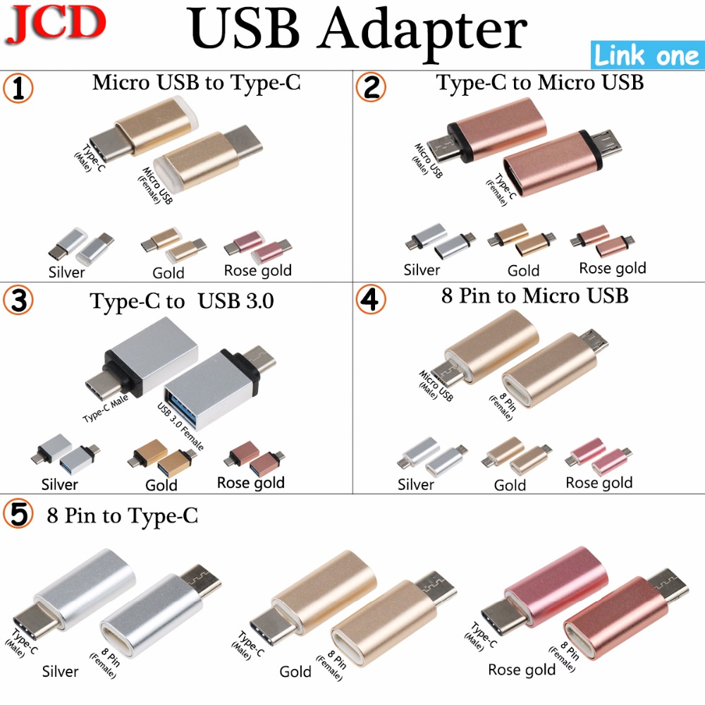 JCD Micro Usb Male To Type-c Micro Usb To Type C/ 8 Pin To Micro USB / Type C Adapter Type-C To USB 3.0 OTG  Converter Adapter