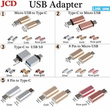 цена на JCD Micro Usb Male To Type-c Micro usb To Type C/ 8 Pin to Micro USB / Type C Adapter Type-C to USB 3.0 OTG  Converter Adapter