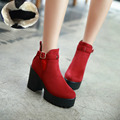 Black re blue ankle women boots women fashion winter platform boots women shoes square heel boots Drop Shipping