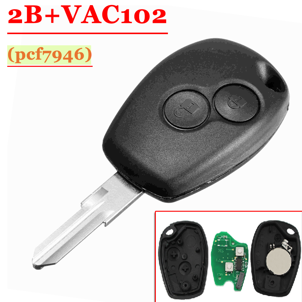 Free Shipping  (1 Pcs ) 2 Button Remote Key With Pcf7946  VAC102 Blade Round Button For Renault   Clio Kangoo Modus Master