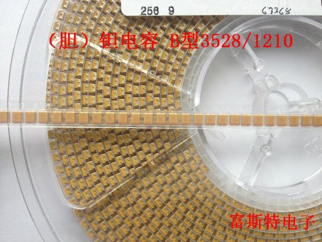 500PCS/LOT SMD Tantalum Capacitors 336A 33UF 10V B Type 3528 1210 Tantalum Capacitor Yellow Polarity Capacitor