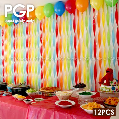 Pgp Rainbow Crepe Paper Streamers Trolls Kid Girls Birthday Baby