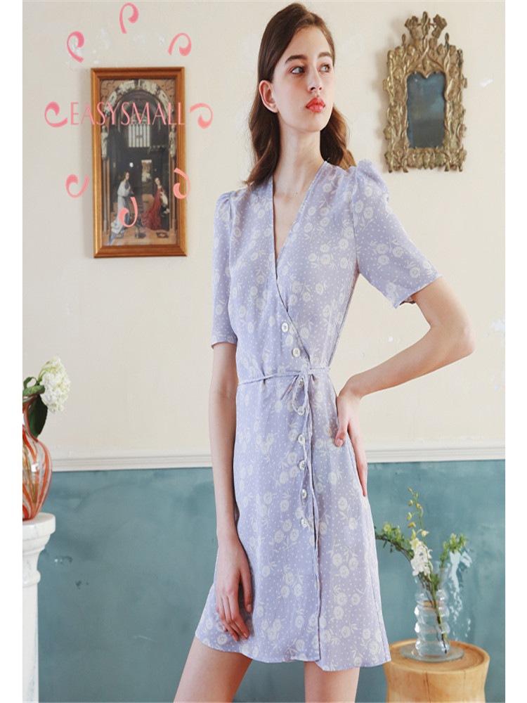 EASYSMALL Women dress Fashion Sexy French vintage purple dress Sundress Summer exclusive high-end Slim tight  Casual High waist thumbnail