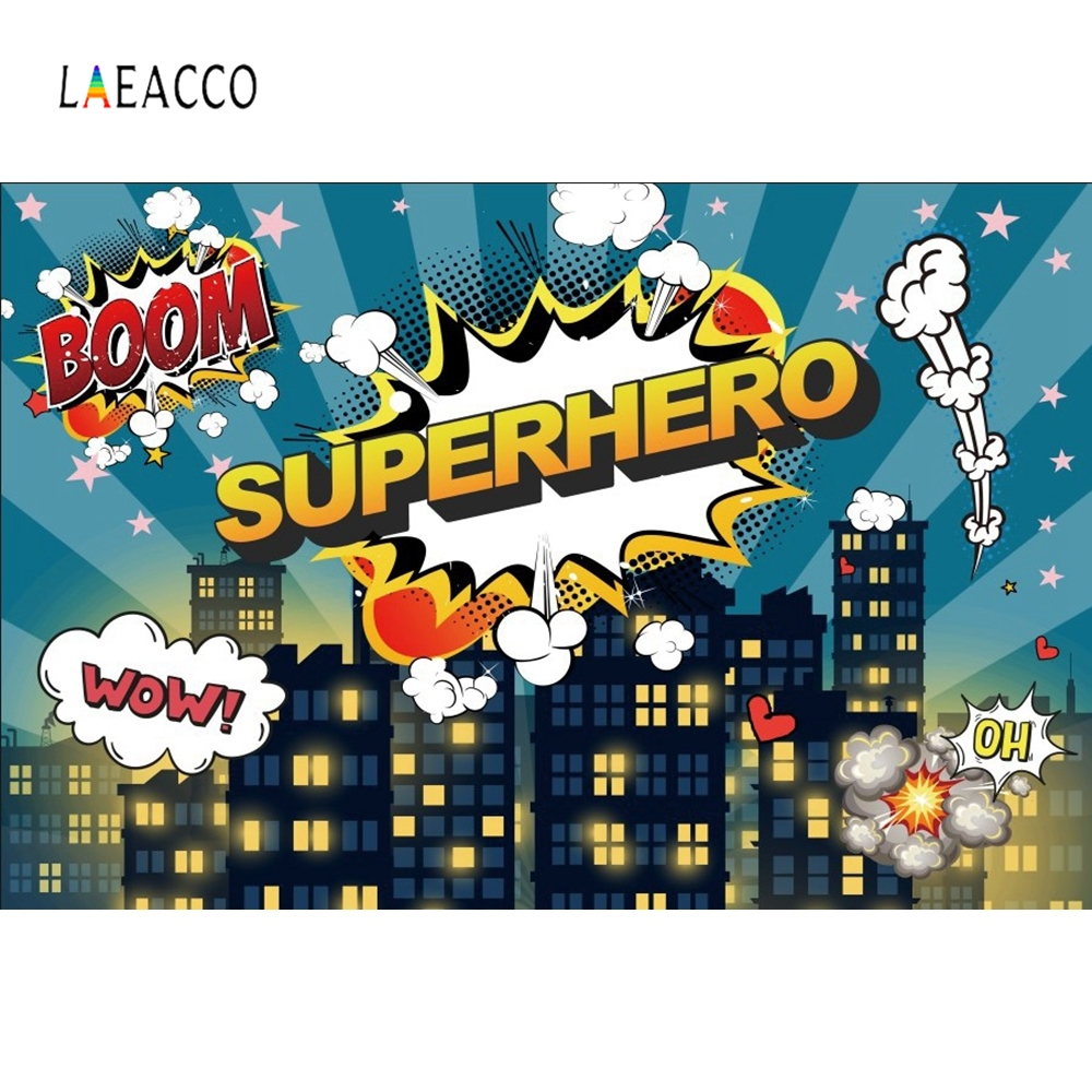 Laeacco Boow Super Hero Baby Birthday Night Party Photography Backgrounds Customized Photographic Backdrop For Photo Studio in Background from Consumer Electronics