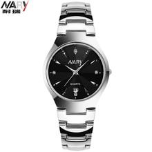 Nary hombre de negocios de moda relojes de acero reloj de cuarzo calendario masculino pantalla rhinestone relojes hombres y mujeres relojes de pulsera