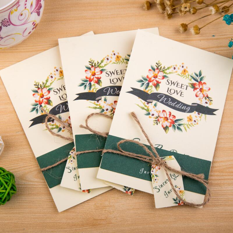 30 Pcs/lot Green Flower Printed Creative Wedding ...