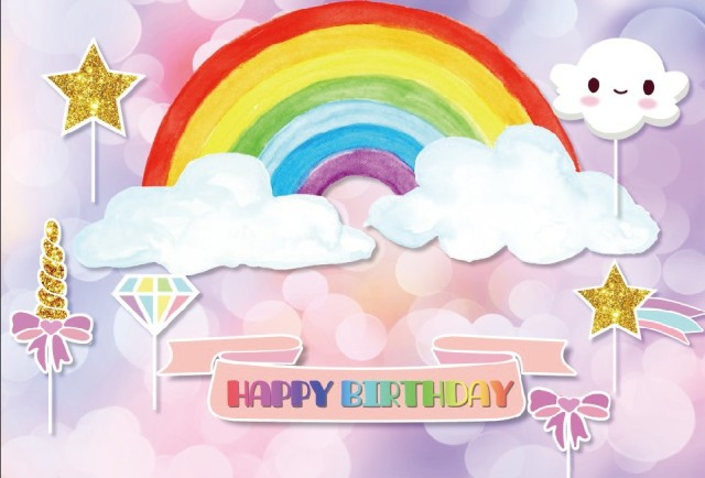 Laeacco Cartoon Rainbow Cloud Happy Birthday Baby Photographic