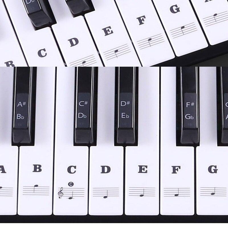 ملصق لوحة مفاتيح بيانو شفاف 54/61 مفتاح لوحة مفاتيح إلكترونية ملصق بيانو 88 مفتاح ملصق ملاحظات للبيانو أبيض Keys1
