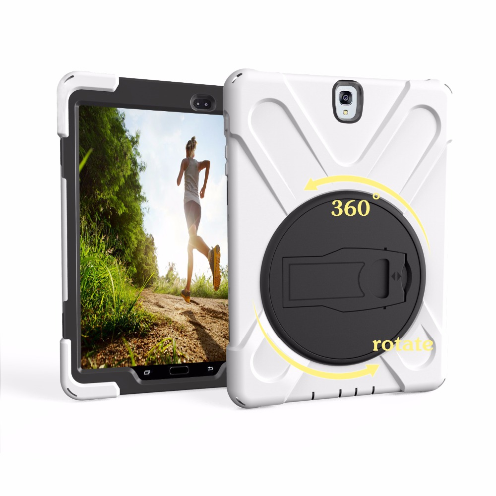 Heavy Duty Silicone Hard Tablet Case For Samsung Galaxy Tab S3 9.7 SM-T820 T825 Cover Kids Safe Shockproof Hand Belt Holder