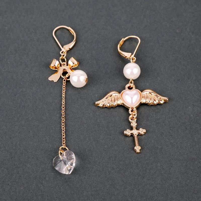 MQCHUN Fashionable women angel wings Peach heart cross imitation pearl earrings anime cardcaptor sakura drop earrings jewelry