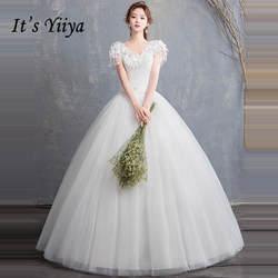 Это YiiYa Свадебные платья 2019 V-образным вырезом Бисер кисточкой Аппликации Белый Пол-длина Свадебное платье Элегантное Novia Casamento HS306