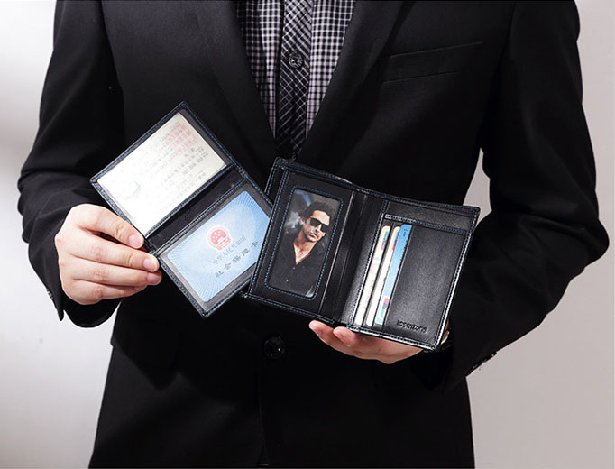 Top Genuine Leather Bifold Slim Purse Driver License Wallet For Men Credit Card Receipt Holders Multi-function Famous Brand J20 zelda wallet bifold link faux leather dft 1857