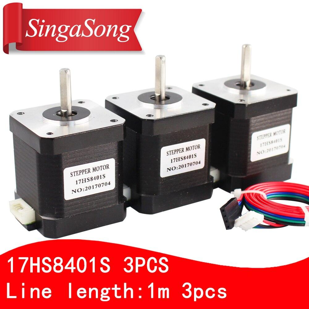 Free shipping 3PCS 4 lead Nema17 Stepper Motor 42 motor 17HS8401S 1 8A CE ROSH ISO