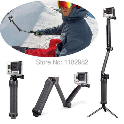 3-forma Monopod, brazo ajustable, soporte manual 3 Trípodes para fotografía para GoPro héroe 7 6 5 4/3 + SJ4000 SJ5000 Xiaomi Yi