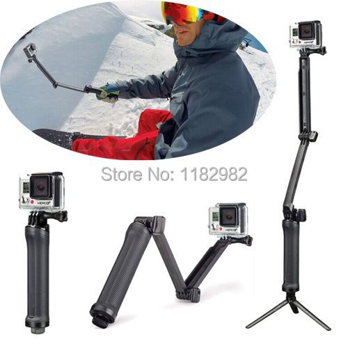 GoPro 3-Way Monopod Arm Mount Adjustable stand Bracket Handheld Grip 3 Way Tripods For Hero 4/3+ 3 SJ4000 SJ5000 Accessories