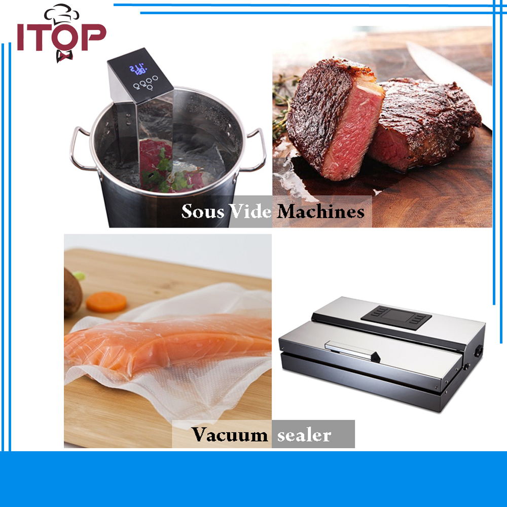 Фото ITOP Sous Vide Immersion Circulator Accurate Temperature Digital Timer and Stainless Steel Comes with Vacuum Zipper Bags Sealer