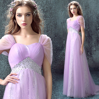 purple tulle lace a line cap sleeve hot sexy sweetheart long 2018 new design beading vestido longo Formal gowns bridesmaid dress