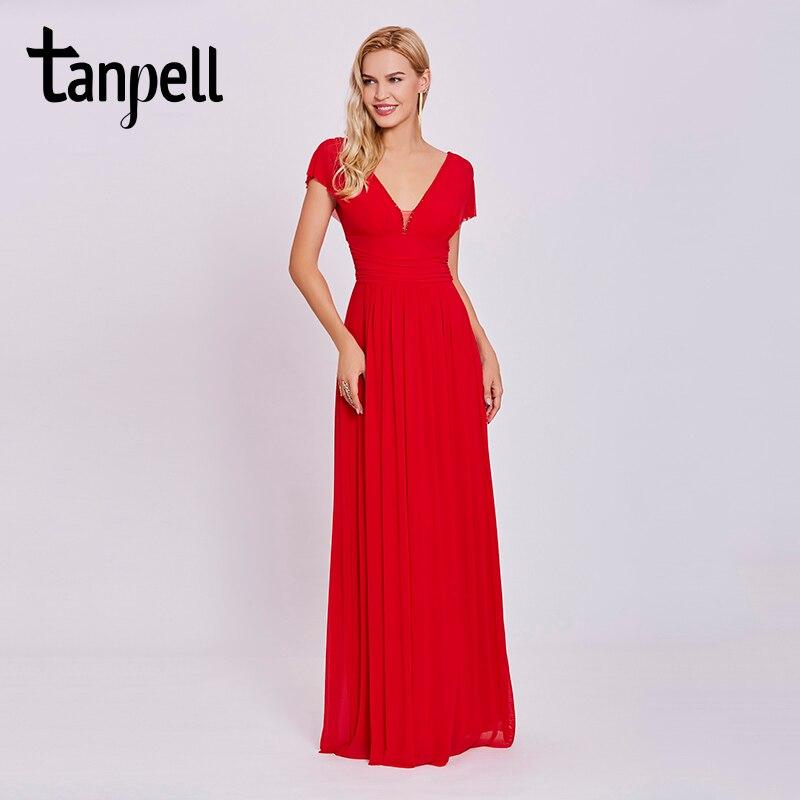 Tanpell V вырезом вечернее платье Красный бисером Cap рукава Длина пола линии платья дешевые женские Империя Пром Формальное вечернее платье
