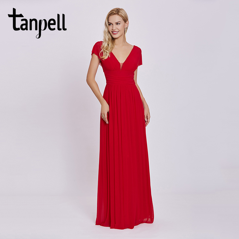 Tanpell V Neck Long Evening Dress Red Beaded Cap Sleeves Floor Length A Line Dresses Cheap Women Empire Prom Formal Evening Gown