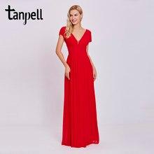 22de4dfb4d43c Tanpell v boyun uzun abiye kırmızı boncuklu cap kollu kat uzunluk bir çizgi  elbiseler ucuz kadın İmparatorluğu balo örgün akşam .