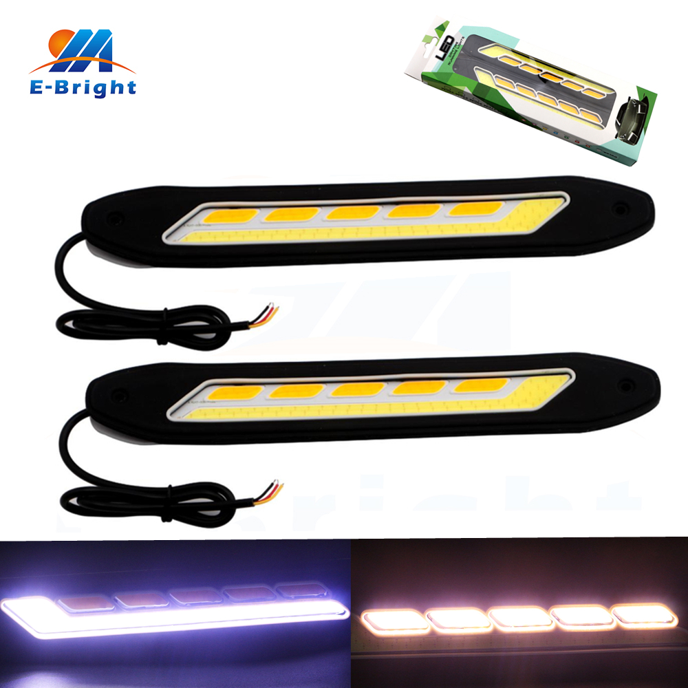 1Pair COB LED DRL Daytime Running Lights White with Yellow Turn Signal Driving Lamp Bar IP65 Waterproof DC 12V 2pcs waterproof white and yellow car headlight cob led daytime running lights drl fog lights with turn signal light in russia