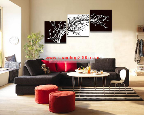 Handmade Abstract Blacku0026White Pachira Painting Modern Rich Tree Group Of  Oil Paintings Wall Art Hotelu0026office Mural Decorative