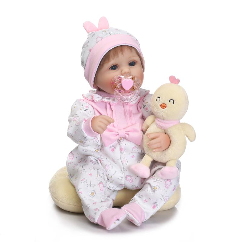 Nicery 16-18inch 40-45cm Bebe Doll Reborn Soft Silicone Boy Girl Toy Reborn Baby Doll Gift for Children Present Yellow Chicken nicery 18inch 45cm reborn baby doll magnetic mouth soft silicone lifelike girl toy gift for children christmas pink hat close