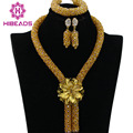 2017 Shiny Champagne Gold African Bead Jewelry Set Splendid Nigerian Wedding/Party Women Beads Set Wholesale Free Shipping BN414