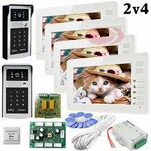 Apartments 2 HD 700lines Cameras Code And RFID Cards Unlock 4 Monitors 7″ LCD Video Door Phone Intercom System Doorbells