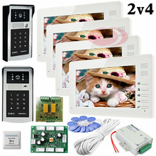 Big discount Apartments 2 HD 700lines Cameras Code And RFID Cards Unlock 4 Monitors 7″ LCD Video Door Phone Intercom System Doorbells