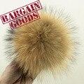 100 unids 10 cm pompones de piel de mapache Real de piel de bolas de BRICOLAJE Accesorios de la joyería de punto de piel Llavero Tapa Gorros Accesorios de piel