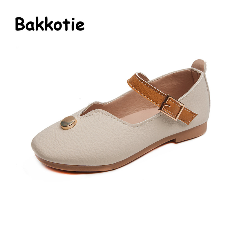 Bakkotie 2018 Spring New Fashion Children Pink Princess Flat Baby Girl Pu Leather Soft Shoe kid Sweet Brand Party Mary Jane