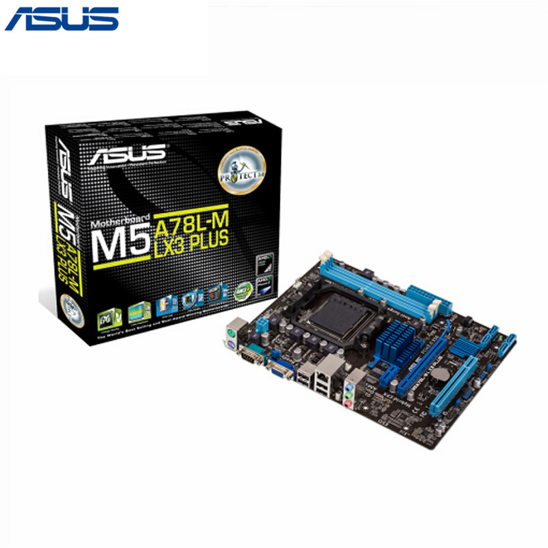 Asus 24.4x18.8cm M5A78L-M LX3 Plus Desktop motherboard 760G Socket AM3+ DDR3 16G SATA2 USB2.0 Micro ATX used 100% original desktop motherboard for asus m5a78l m lx3 plus integrated graphics ddr3 am3 mainboard