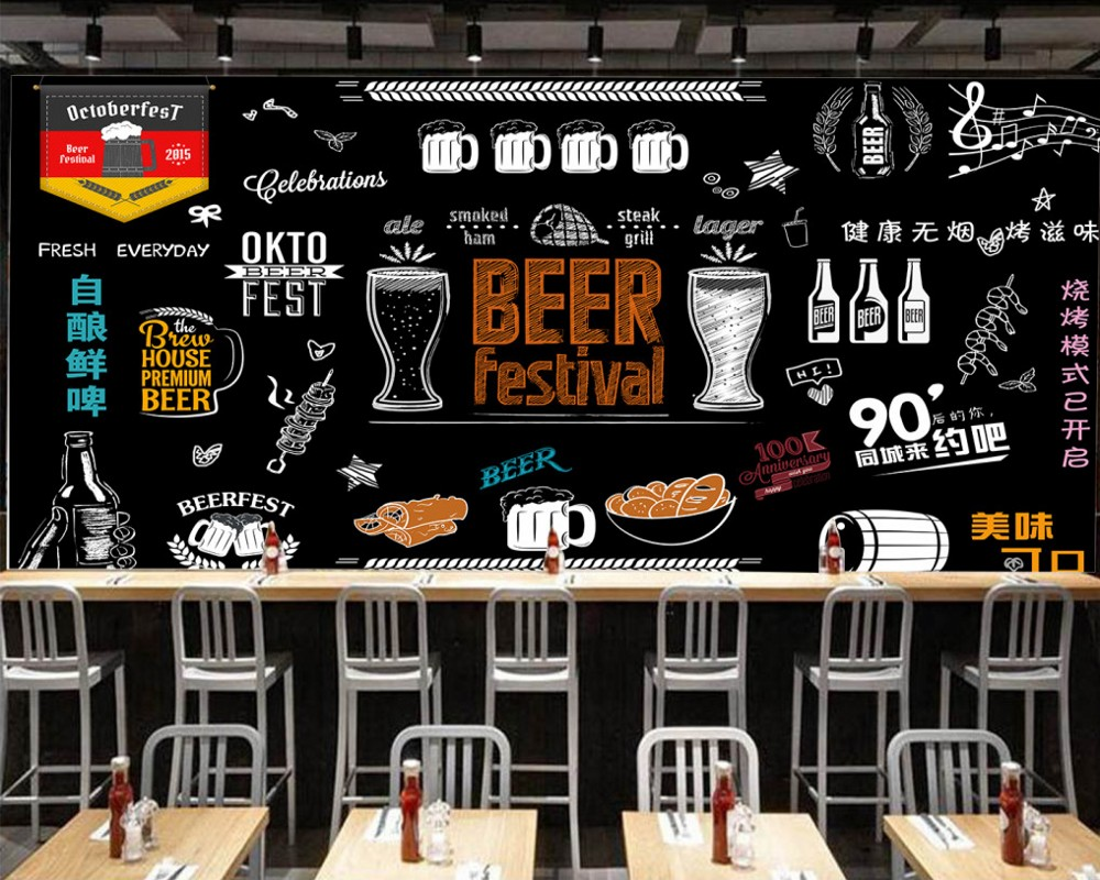 Free Shipping Custom Mural Personality Hand Painted Blackboard Beer Grill Background Wall Modern Wallpaper for Restaurant