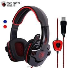 Sades 901 SA-901 SA901 USB Gaming Headset 7.1 Surround Sound Game Headphone Earphone with Microphone for PC computer Gamer