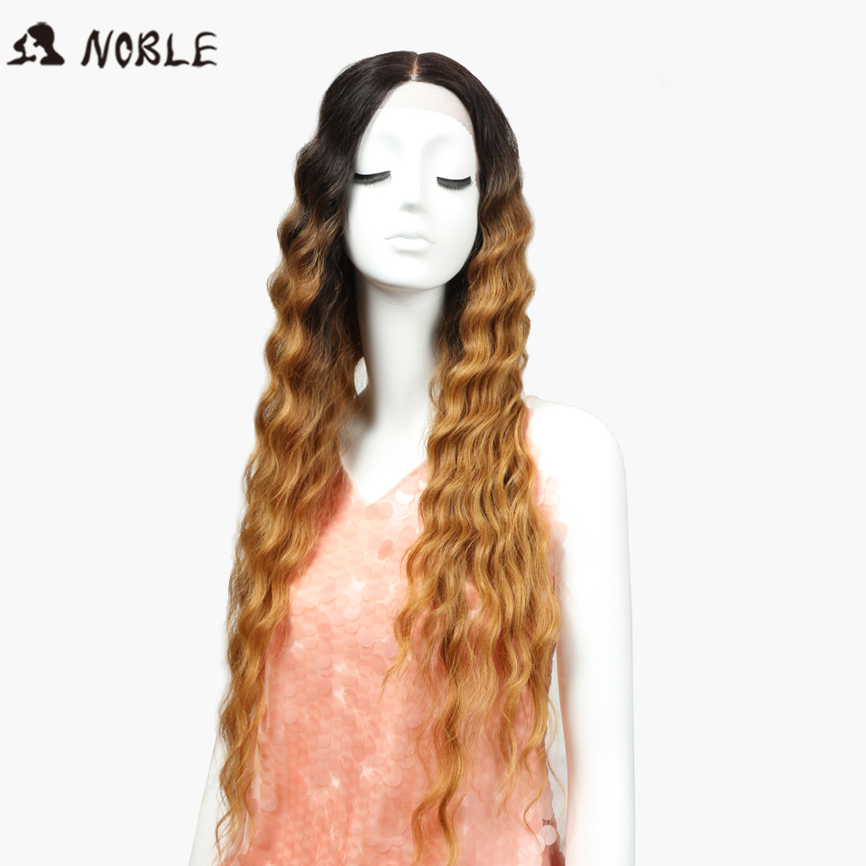 Noble Lace Front Wigs For Black Women 30 Inch Dark Root Blonde Brown Long Wavy Ombre Synthetic Wig Heat Resistant Deep Wave Hair