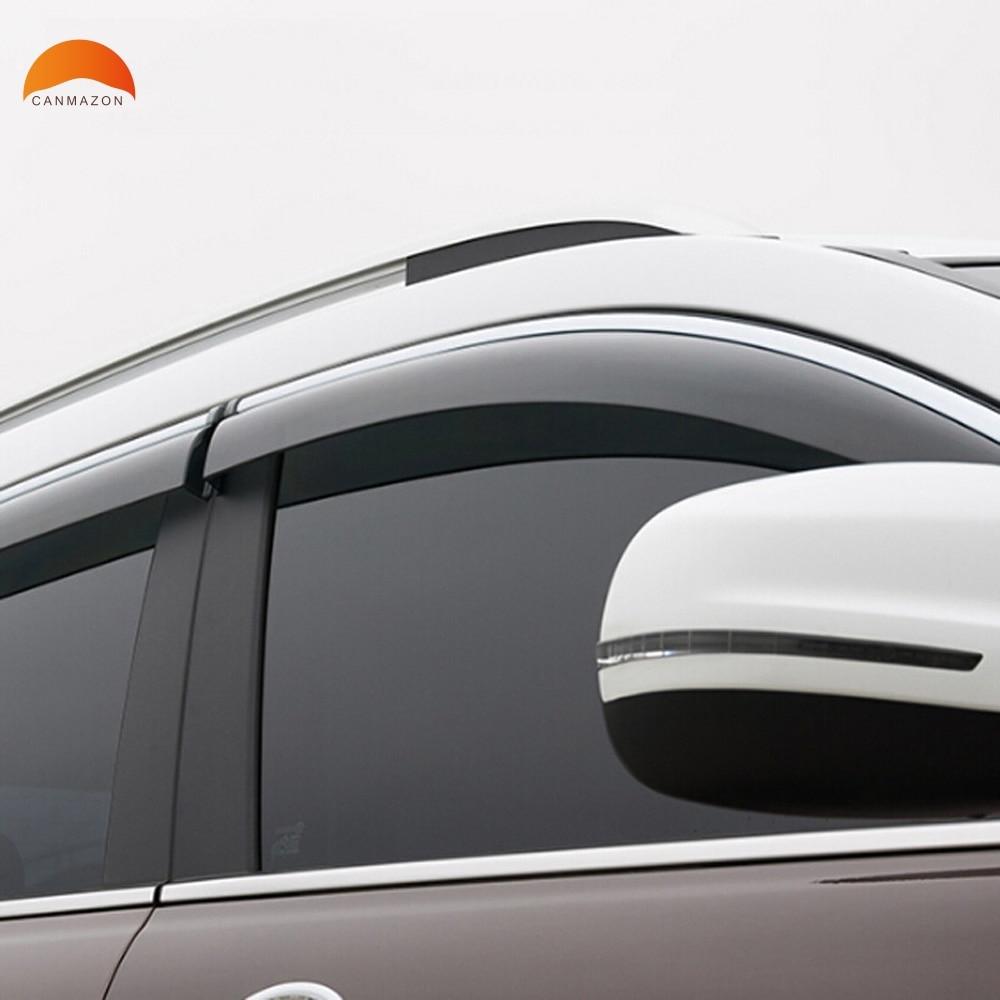 For Jeep Cherokee 2014 2015 2016 ABS Plastic Window Visor Sun Visor Door Visors Sun Rain Deflector Guard Protector Trims 4pcs for nissan qashqai dualis 2008 2013 window visor rain sun shield guard protector