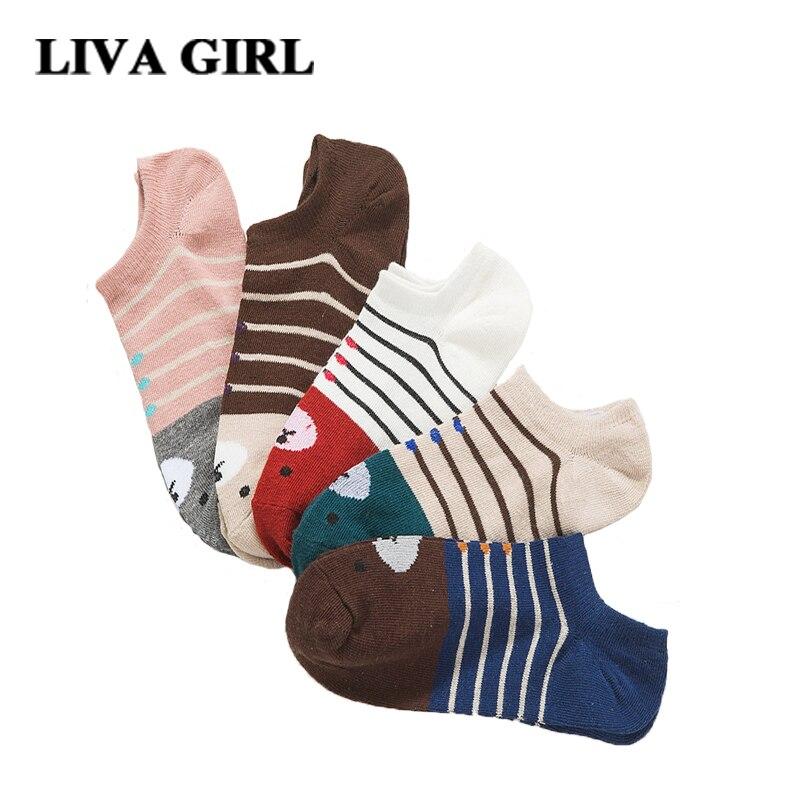 Liva Girl Boat Socks Women Winter Warm Funny Cute 2017 New Lady Cartoon Cotton Sock Asakuchi Bear Fashion Sales