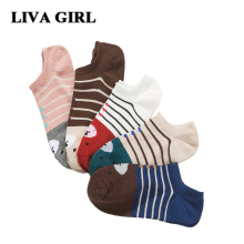 Liva Girl Boat Socks Women Winter Warm Funny Cute 2017 New Lady Cartoon Cotton Sock Asakuchi Bear Fashion Sales