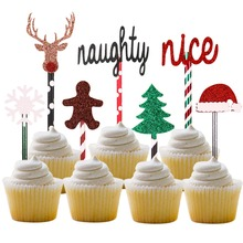 5sets Free Shipping Cute Gingerbread Deer Christmas Party Cupcake Toppers Paper Straws (STCT-090)