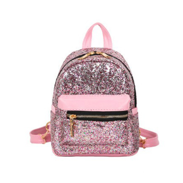 94e32ebcd923 Shining Women Pink Sequins Backpacks Teenage Girls Travel Large Capacity  Bags Portable Party Mini School Bags Shoulder Bag