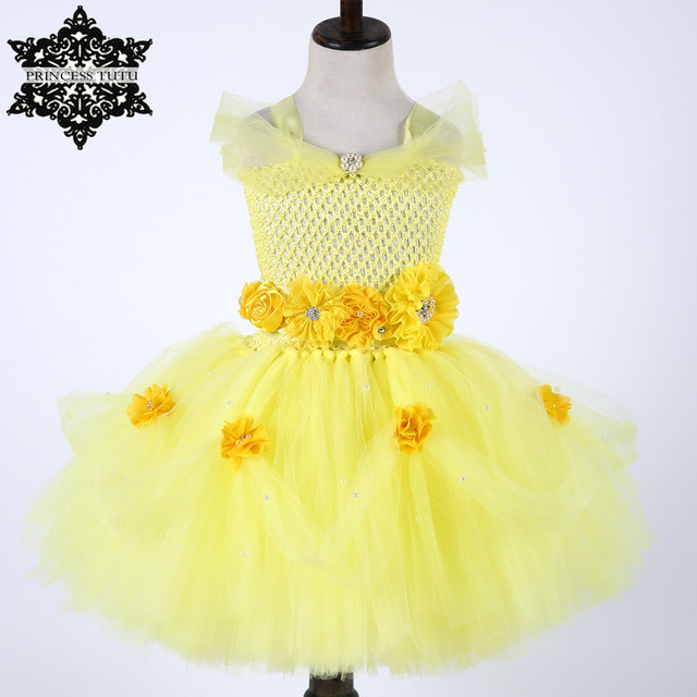 Princess Tutu Summer Yellow Color Newborn Baby Dress Belle Flower Cosplay Party Kids