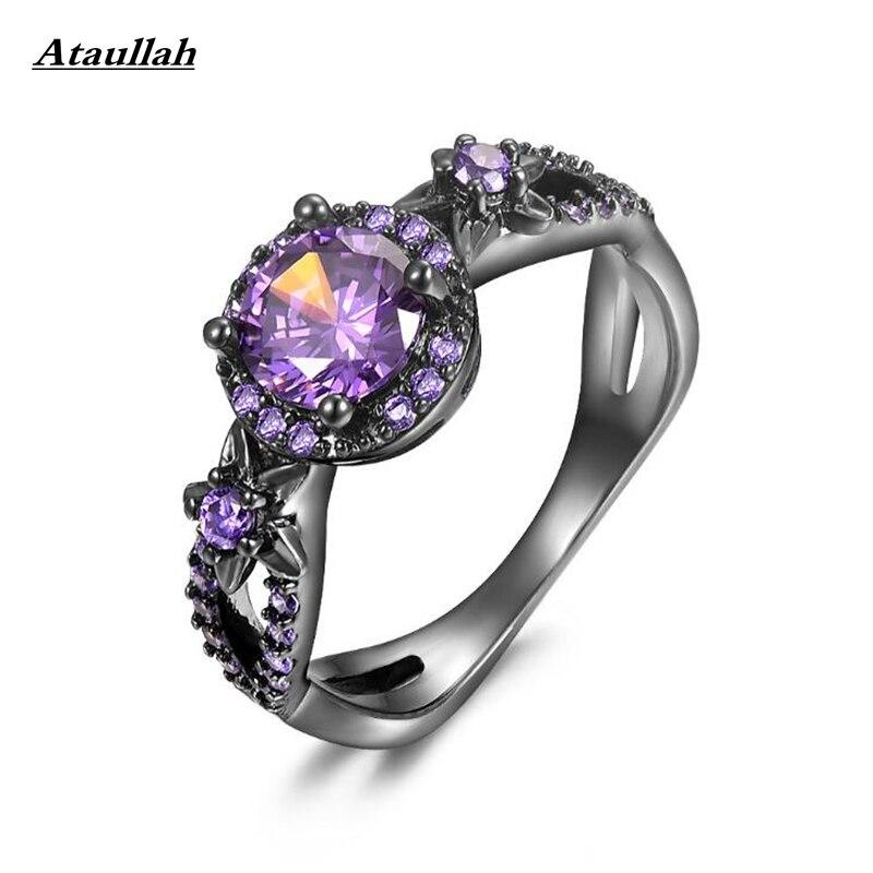Ataullah моды цветок блестящие фиолетовый кольцо гранат Для женщин очаровательные Обручение ювелирные изделия черный золото заполненные коль...