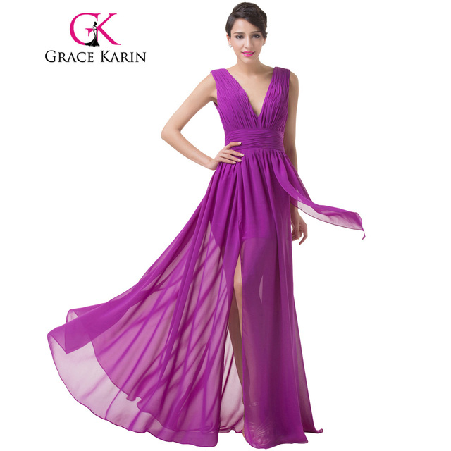 Grace Karin Sleeveless V Neck Backless Purple Evening Gowns Ruched ...