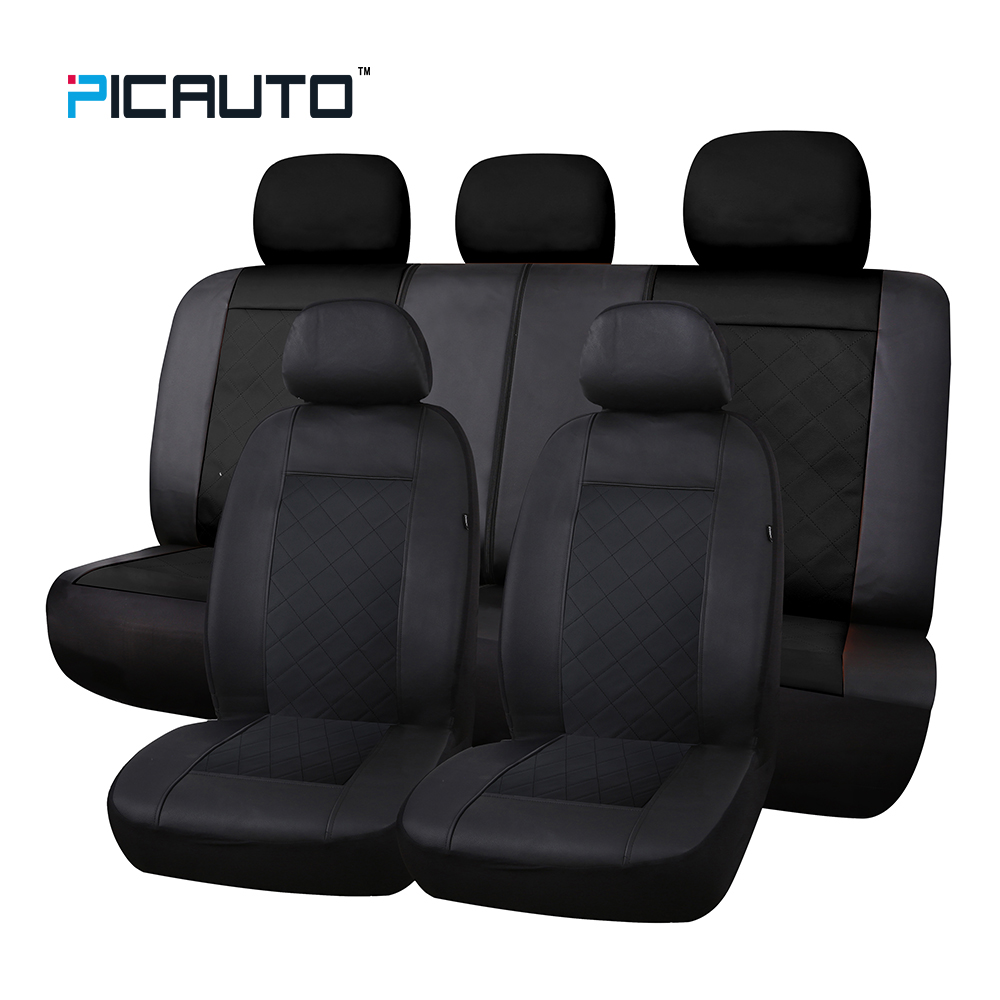 PIC Авто Премиум дутики сшитые кожаные чехлы Универсальный Fit автомобили сиденье протектор 3D Сращивание Технология с боковыми Airbag