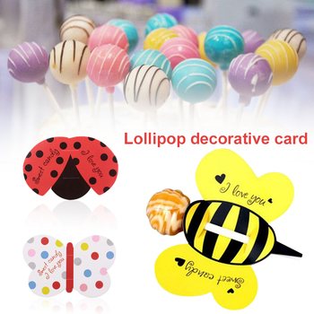 Lollipop Decoration Paper Candy Party Fashion 50Pcs Ladybug Decor Cute Insect Butterfly Multicolor Decorative Paper Bees telephony