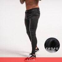 Gingtto Для мужчин теплые обтягивающие джинсы зима флис джинсовые стрейч Корабль из России Slim Fit узкие брюки эластичный пояс хип-хоп ZM12