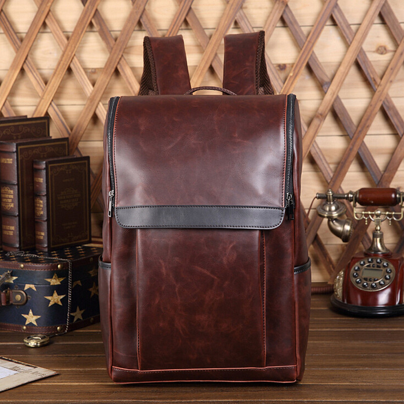 14 Inch Laptop Bag Backpack Men Leather Men's Solid Brown Unisex Women Preppy Style School Bags for Teenagers Bagpack Mochila