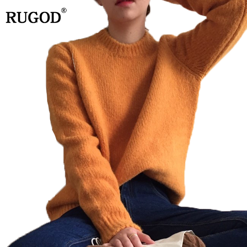 RUGOD Fashion Solid Christmas Sweater O-neck Long Sleeve Women Sweaters And Pullovers New Casual Loose Sueter Mujer